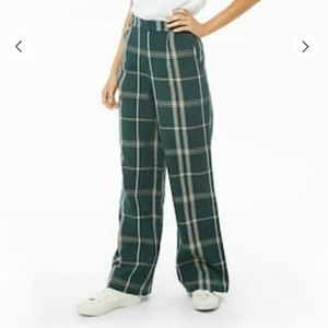 Green Plaid Long Dress Pants